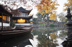 Suzhou garden. Chinese ancient garden with pond in autumn,Suzhou,Jiangsu,China Royalty Free Stock Photography