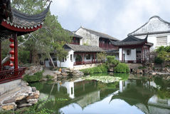 Suzhou garden. Chinese classical garden with pavilions and pond in Suzhou Stock Photo