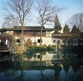 Suzhou garden in winter,lingering garden. The architecture of Suzhou gardens, water and trees.The space of Lingering GardenLiu Yuanis full of wholeness stock photos