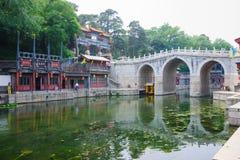 Suzhou gata i sommarslott Arkivfoto
