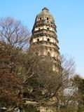 Jiangnan Water Town, ChinaTower of Suzhou Tiger Hill. Suzhou Huqiu tower is famous world culture heritage, yet tower body glacis stock photo