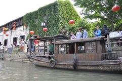 Suzhou, 4. kann: Die historische ruhige Straße oder der Kanal Leben Shantang von Suzhou-Stadt lizenzfreie stockfotos