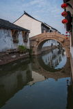 Suzhou miasto antyczny miasteczko Lu mostów ludzie Fotografia Royalty Free