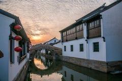 Suzhou miasto antyczny miasteczko Lu mostów ludzie Obrazy Stock