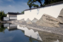 Suzhou Museum Exterior. The white exterior of the Suzhou museum and water of the inner courtyard in Suzhou Jiangsu province China on a sunny day Royalty Free Stock Image