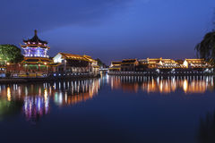 Suzhou at night. Traditional ancient town with reflection at night, suzhou, china Royalty Free Stock Photo