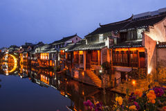 Suzhou at night. Traditional ancient town with reflection at night, suzhou, china stock photos