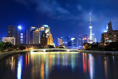 Suzhou river in shanghai at night Stock Images