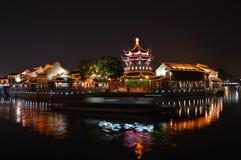 Suzhou skyline by night stock image
