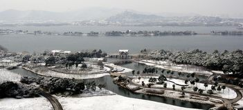 Winter scenery of Suzhou. Suzhou snow scenery, in a town or city and garden and Temple Royalty Free Stock Photography