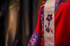 Suzhou tsu silk qipao. Suzhou minsheng silk is the essence of traditional Chinese silk art. It is the most traditional one of the Chinese silk weaving industry stock photography
