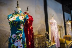 Suzhou tsu silk qipao. stock image