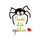 Suzi die spider. Design intended for t-shirts hoodies etc,''die'' means ''the'' in german Stock Photo