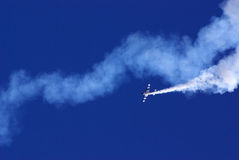 Suzuki. Aerobatics performed at air show in Gauteng RSA using smoke and single prop aeroplane Stock Images