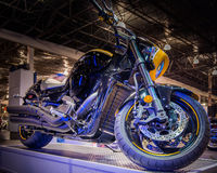 2014 Suzuki Boulevard, demostración de la motocicleta de Michigan Fotos de archivo libres de regalías