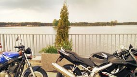 Suzuki GS 500 and Honda CBR 600 two motorcycles Stock Photography