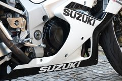 Suzuki GSX motorcycle. Berlin, Germany - June 24, 2019: Suzuki GSX motorcycle. The GSX Series is Suzuki`s range of sport touring motorcycles powered by four stock photography