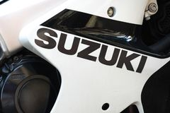 Suzuki GSX motorcycle. Berlin, Germany - June 24, 2019: Suzuki GSX motorcycle. The GSX Series is Suzuki`s range of sport touring motorcycles powered by four stock image