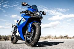 Suzuki GSX-R750. NOVYY URENGOY, RUSSIA - AUGUST 21, 2016: Blue bike Suzuki GSX-R750 parked at the countryside royalty free stock photography
