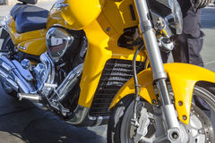 Suzuki Intruder M1800R parked at gas station Royalty Free Stock Image
