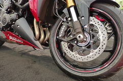 Suzuki motorcycle - wheel detail Stock Photo