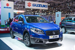 Suzuki SX4. Moscow-September 2: Suzuki SX4 at the Moscow International Automobile Salon on September 2, 2014 in Moscow stock image