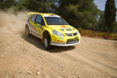 Suzuki SX4 WRC 2008. At the first day of the 55th Acropolis rally of greece Royalty Free Stock Photo