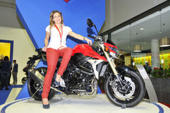 Suzuki team. Batalha - February 6, 2011: suzuki participating in the event of the Expomoto - Hall of bikes, accessories and equipment on February 6, 2011 in Stock Photography
