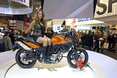 Suzuki V-Strom 650 ABS in EICMA 2011 Royalty Free Stock Image