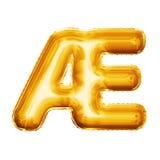 Svälla alfabetet för guld- folie för bokstavsAE-ligaturen 3D det realistiska Royaltyfri Fotografi