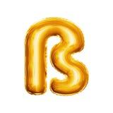 Svälla alfabetet för guld- folie för ligaturen 3D för bokstav S Eszett det realistiska Royaltyfri Foto