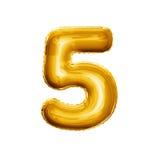 Svälla nummer 5 det realistiska alfabetet för guld- folie fem 3D Royaltyfria Bilder