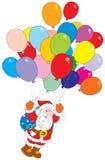 sväller claus som flyger multicolor santa stock illustrationer