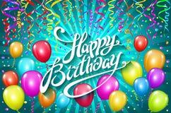 sväller den lyckliga födelsedagen den färgrika ballongen mousserar ferieblåttbakgrund Lyckafödelsedag till dig logo, kort, baner, Arkivfoto