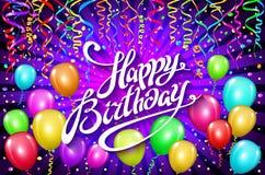 sväller den lyckliga födelsedagen den färgrika ballongen mousserar ferievioletbakgrund Lyckafödelsedag till dig logo, kort, baner Arkivfoto