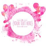 Sväller den vita handen drog cirkelramen med den färgrika vattenfärgen Bakgrund för rosa färgmålarfärgfärgstänk Artsy designbegre Arkivbilder