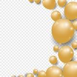 Sväller festlig guld för beröm på genomskinlig bakgrund stock illustrationer