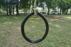 Svänga den rubber cirkeln för ungar på lekplatsen Arkivbild