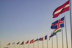Svänga för Europa landsflaggor Arkivfoto
