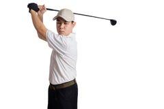 Svängande golfklubb för asiatisk kinesisk man för skottet Royaltyfria Bilder