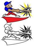 Svängande slagträ Logo Vector Illustration för basebollspelare royaltyfri illustrationer