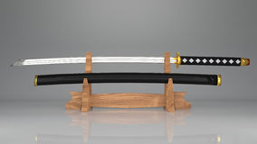 svärd för samurajer 3d med en skida av japanskt folk på svärdskärmkuggen som göras från trä Royaltyfria Bilder