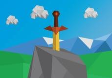 Svärd i polygonal landskap för sten Royaltyfria Foton