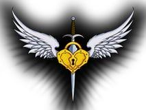 Svärd, vingar och guld- låstatuering royaltyfri bild