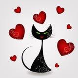 Svärta katten med hjärtor Arkivfoto