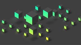 Svärta texturerad bakgrund med den gröna geometriska modellen för kuber 3d stock illustrationer