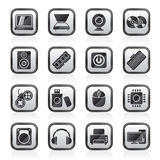 Svärta vita del- och apparatsymboler för en dator Fotografering för Bildbyråer