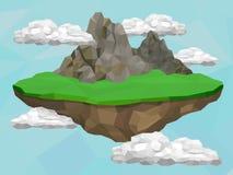 Sväva ön med berg Royaltyfri Fotografi