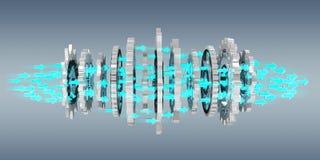 Sväva den moderna tolkningen för kugghjulmekanism 3D Arkivbilder