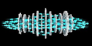 Sväva den moderna tolkningen för kugghjulmekanism 3D Arkivfoton